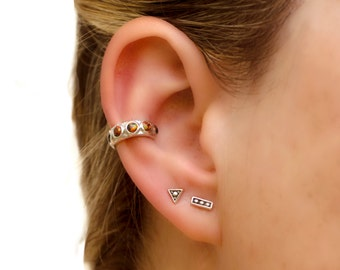 Sterling Silver Ear Cuff Earrings Black Opal Stones Inlay Ear Wrap Earrings Boho Jewelry - ECU009 OP34