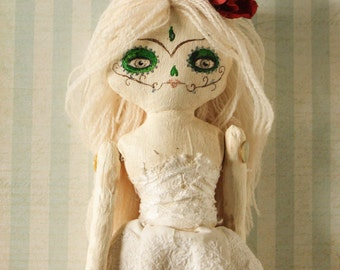 Handmade Day of the Dead Calavera Art Doll