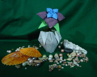 Single Hand-Painted Origami Flower in Origami Vase