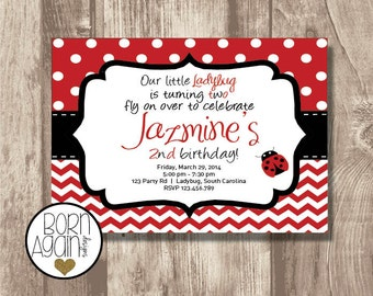 Custom Ladybug Birthday Invitation Printable
