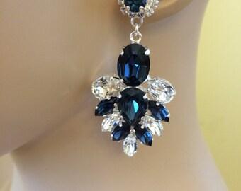 Navy Blue Swarovski Crystal Statement Earrings, wedding earrings, bridal earrings, Montana blue, teardrop earrings, chandelier earrings