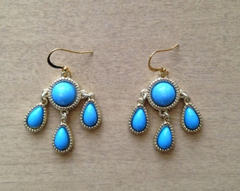 Blue and Gold Teardrop Chandelier Earrings