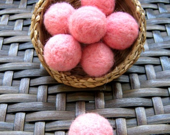 20mm Wool felt balls,  20+ handmade wool felted balls, pink felt balls, felted balls, pink pom poms, handmade pink pompoms