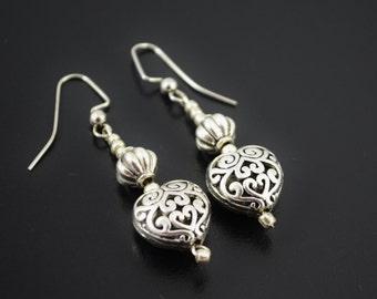 FREE SHIPPING,Silver earrings,silver heart earrings,heart earrings,silver filigree earrings,boho silver earrings,silver earrings,boho style