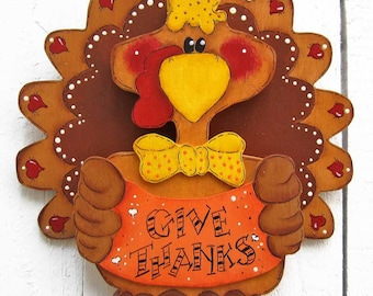 Thanksgiving Turkey Door Hanger Fall Decor Thanksgiving Decor Fall Outdoor Yard Art Yard Sign Fall Wood Thanksgiving Wood Painted Wood Tole