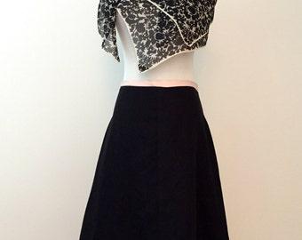Black linen A-line skirt