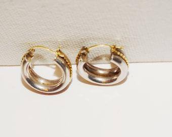Vintage 10k stamped, Sterling small Hoop Earrings.