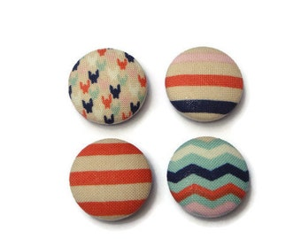 Chevron magnets, striped magnets, fabric button magnet (set of 4), fabric magnets, fridge magnets, locker magnets, navy, coral, pink, mint