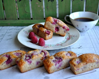 French Tea Cake,  6 pieces of Raspberry Financier, delicate Parisian cake with Raspberries and Almonds
