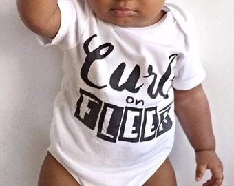 CURLS ON FLEEK Onesie® or American Apparel Pink Raglan toddler shirt / curls one piece creeper bodysuit /Funny Onesie®