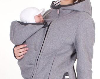 veste veste porteur 3 en 1, baby portant des vestes de Sweat-shirt, confortables vêtements de maternité, grossesse, gris chiné, CHARLIE, veste de porteur de bébé