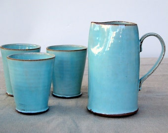 Turquoise Pitcher, Water Pitcher, Ceramic Pitcher, Ceramic Wine Pitcher, Light Blue Pitcher, Stoneware Pitcher, Handmade Pitcher