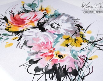 Sunny, ORIGINAL watercolor art, modern art, abstract watercolor, colorful art, floral wall decor, watercolor floral print, watercolor flower