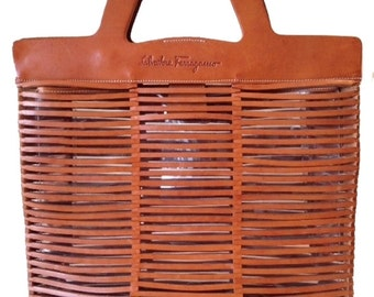 Salvatore Ferragamo Vintage Leather Tote Bag With Removable Plastic Liner