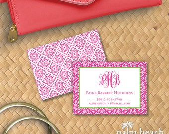 Venetian Monogram Calling Cards - Personal Contact Cards - Personalized Mommy / Business Cards - Email Phone - Mediterranean Tile Pattern