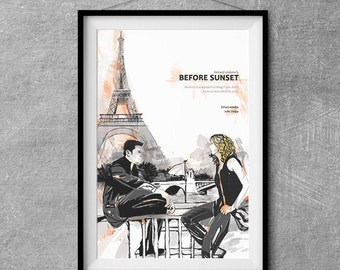 Before Sunset Alternative Movie Poster - Original Illustration