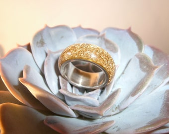 Gold and silver ring, gold braid, gold ring, ring with gold and silver, resin ring