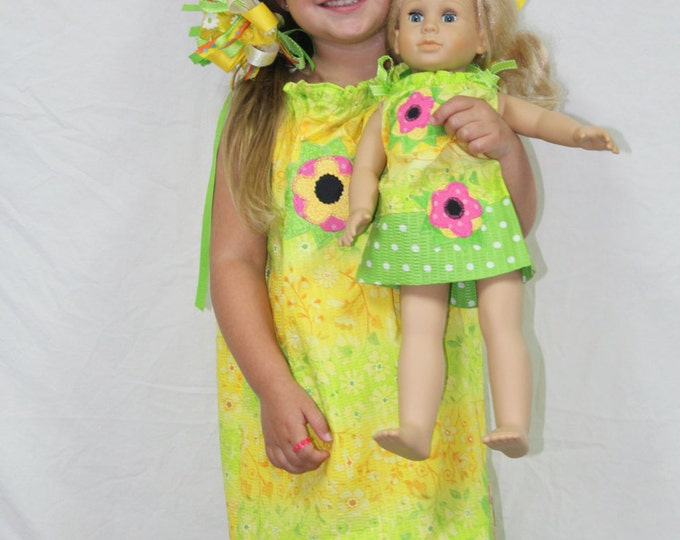 "Girls Pillowcase dress with matching 18"" doll dress, AG doll dress, Spring dress, summer dress, girls, dress, toddler dress, doll dress"