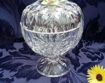 Royale County Floral Crystal Dish / Bowl and Lid