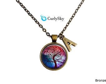 Tree Art Necklace Tree of Life Whimsical Tree Necklace Curly Tree Necklace GIft tree Necklace Whimsical tree pendant Blue and Red Necklace