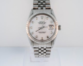 Mens Rolex DateJust, S.S. Jubilee Br., MOP Diamond Dial, Eng.Turn. Bezel., 16030
