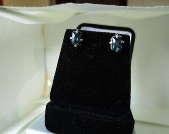 London Blue Topaz and sterling silver stud earrings