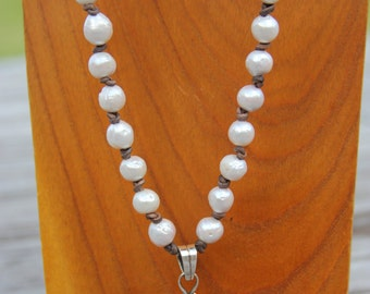 Pearls & Leather Necklace with Citrine/Pearl Pendant