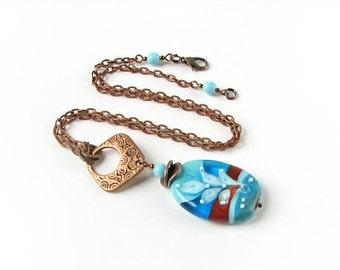 Lampwork necklace, Single Bead Necklace, Blue Glass Pendant, Boho jewelry, Lampwork Pendant, Boho Pendant, Bohemian Jewelry, Boho chick OOAK