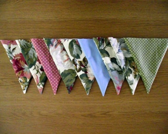Polka Dot Vintage Floral Pink Green and Blue Lined Fabric Bunting