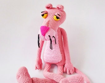 Handmade Crochet Pink Panther, Pink Panther Plush Toy, Stuffed Animal