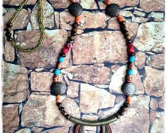 African/Tribal/Ethnic Medium Length Turqnoise/Brown/Green/Coral/Orange Beaded/Statement/Crescent Shaped Pendant Necklace