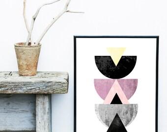 Abstract Art, Printable Art, Printable Abstract, Geometric Art Print, Scandinavian Art, Mid Century print, Wall Decor, Wall Art