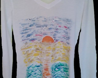 Women's Malibu Sunrise Top, Handpainted Clothes For Women, Sunrise Beauty