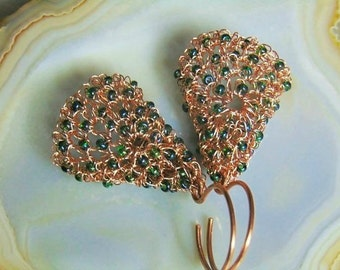 Wire crochet earrings, copper earrings, copper wire, wire crochet jewelry, gift for her, Art Deco, artistic jewelry, styledonna