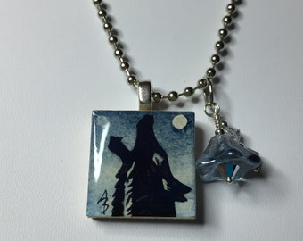 Midnight Blue Coyote - Original Mini Watercolor Painting Necklace