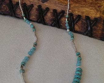 Beaded Necklace Turquoise silver handbeaded Boho influenced