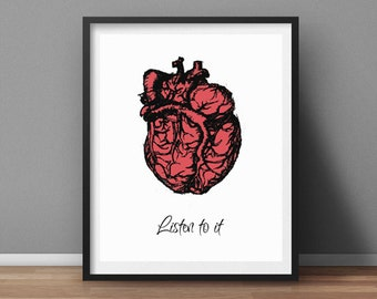 Human Heart Printable Wall Art Inspirational Typographic Print Motivational Quote Home Decor Listen your Heart Poster Art Instant Downlaod