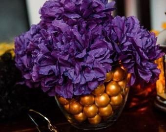Paper Flower table centerpiece, Purple and gold centerpiece, paper flower arrangement, pom pom decoration, wedding centerpiece, table decor