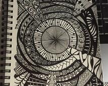 Chaos, Mandala, Original Zentangle Design