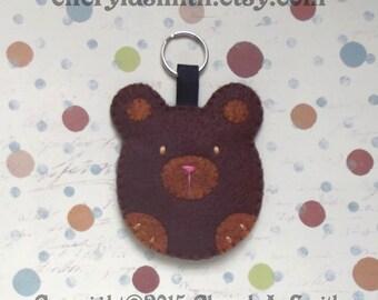 Felt Brown Bear Keyring - Woodland Bear Key Ring Bag Charm - Teddy Bear Lover Key Chain