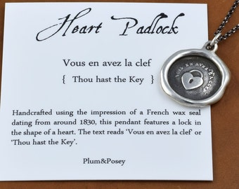 Heart Padlock - Antique Wax Seal Necklace - Key to my Heart Pendant - Heart Lock and Key Lovers Necklace - 126