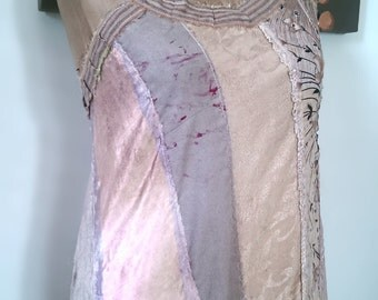 Faded Pink & Grey Dress, Over Dress, Vintage Fabrics, Asymmetrical, Silk, Lace, Cotton, Pinstripe, Boho