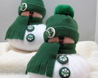 SNOWMAN DECORATION Set of 2, Snowman Ornament, Christmas Decoration, Christmas Ornament, Fleece Snowman, Stuffed Snowmen, Green