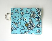 Coin Purse, Birds and Blossoms on Teal, Summer Wallet, Keychain Wallet, Vegan