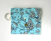 Coin Purse, Birds and Blossoms on Teal, Mini Wallet, Keychain Wallet