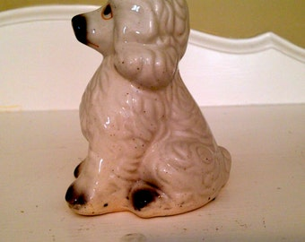 Poodle Figurine ~ Ceramic Poodle ~ White Poodle Figurine ~ China Poodle ~ White Dog Figurine