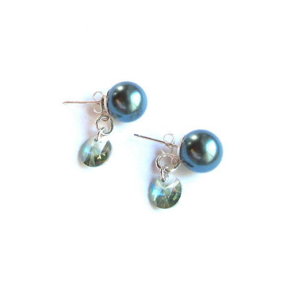 South Sea Shell Pearls (10mm) on Sterling Silver Studs with Grayed Jade Satellite Crystals - Sterling Butterfly Clutches - 315027