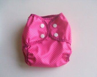 Diaper Cover, Newborn Cloth Diaper Cover, Girl Nappy Wrap with Snaps, Hot Pink