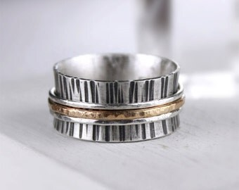Hammered Silver Spinner Ring with Hammered Silver and Gold Bands, Meditation Ring, Mixed Metal Fidget Ring, Wide Band Ring