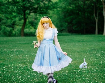 Alice in Wonderland Dress - Costume Lolita Jumper Fairytale - Adult Halloween Lewis Carrol - Custom to your size